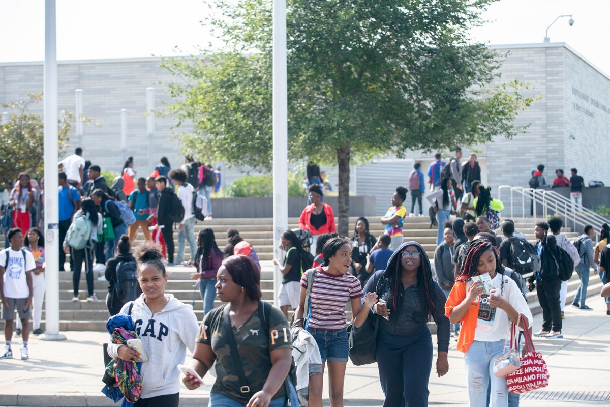 Students make their way home from school at South Shore International College Prep.