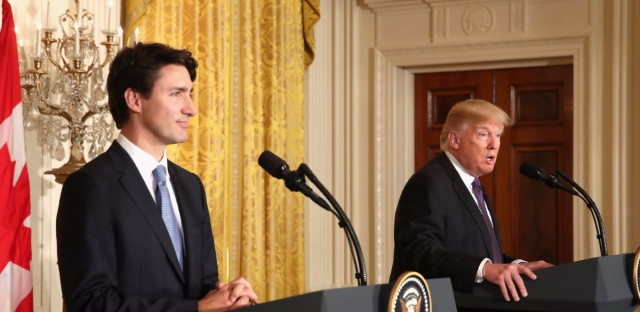 President Trump and Canadian Prime Minister Justin Trudeau participate in a joint news conference in the East Room of the White House on Monday.
