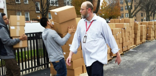 Monday morning Roosevelt High School students and their teacher Tim Meegan unloaded thousands of bags of granola donated to support their lunch boycott.