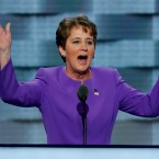 Mary Kay Henry, President of SEIU speaks during the first day of the Democratic National Convention in Philadelphia , Monday, July 25, 2016.