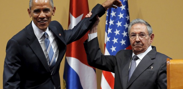<p>USPresident Barack Obama and Cuban President Raúl Castro gesture after a news conference as part of Obama's three-day visit to Cuba.In HavanaMarch 21, 2016.</p>