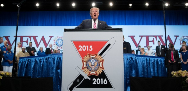Republican presidential candidate Donald Trump speaks during a Veterans of Foreign Wars convention, Tuesday, July 26, 2016, in Charlotte, N.C.
