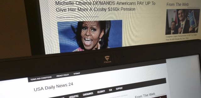 """Facebook users will be warned before sharing a story that's actually fake news, the social media giant says. Bogus news site — such as these stories from """"USA Daily News 24,"""" a site that's registered in Veles, Macedonia, have been blamed for the spread of misinformation online."""