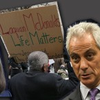 Protestor, rahm emanuel and lisa madigan