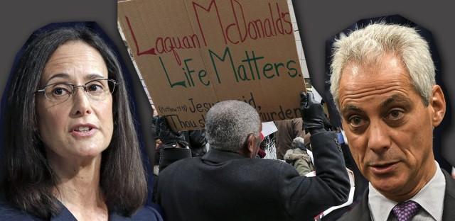 Protestor, rahm emanuel and lisa madigan