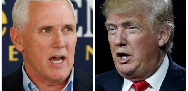 Indiana Gov. Mike Pence, left, and Republican presidential candidate Donald Trump. A major shake-up for Indiana politics could be coming this week as Trump considers Pence as his Republican vice presidential choice.
