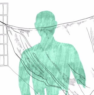 Illustration of a green silloutte in front of a sheet taped to a wall in a prison cell