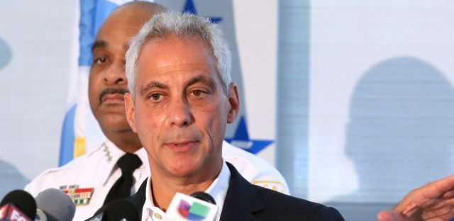 """In this Aug. 6, 2018, file photo, Chicago Mayor Rahm Emanuel speaks at a news conference in Chicago. After word Thursday about agreement on the gun issue, Mayor Rahm Emanuel released a statement saying, """"Chicago is on the road to reform, and there will be no U turns."""" Emanuel announced Tuesday, Sept. 4, 2018, that he will not seek a third term in 2019."""