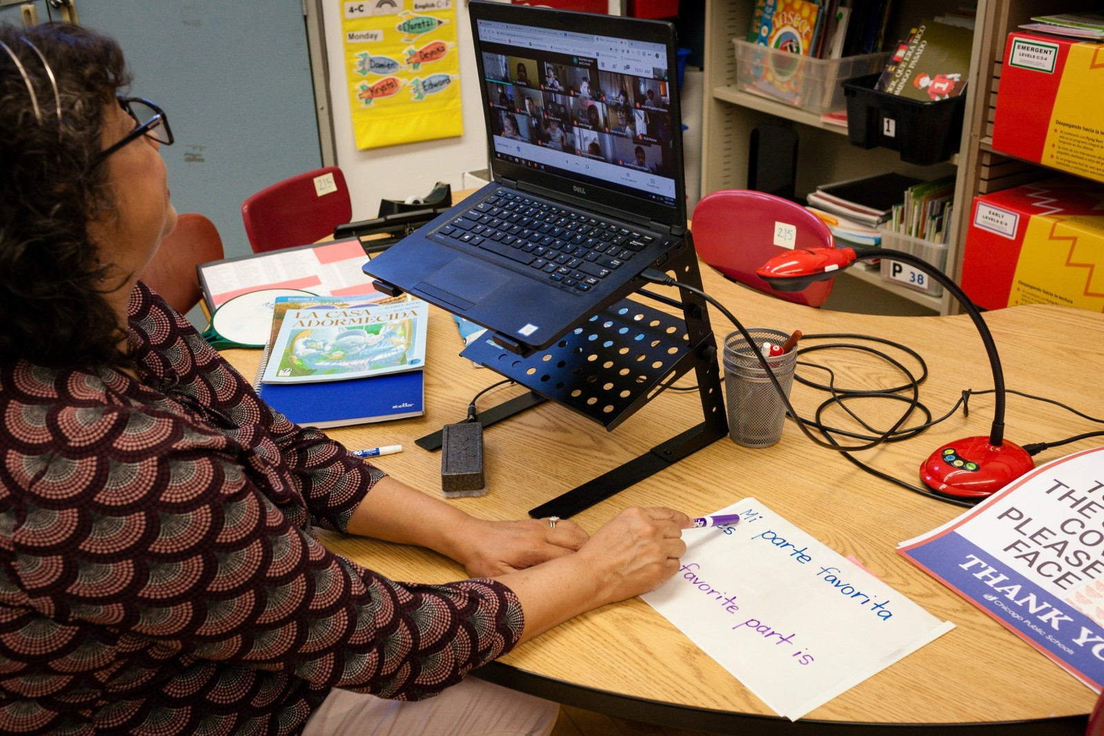 Olga Contreras teaching remotely