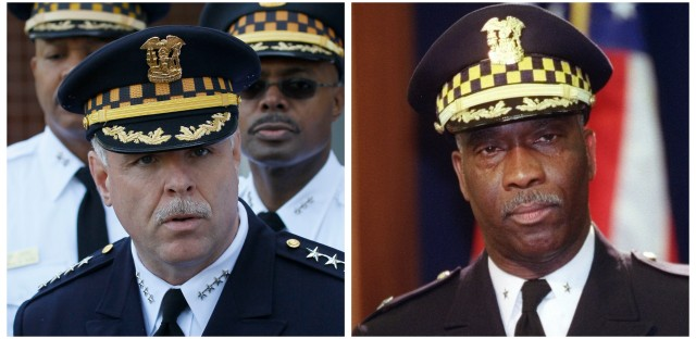 """Former Chicago Police Superintendents Garry McCarthy (left) and Terry Hillard (right) took opposite sides on a """"code of silence"""" case Wednesday."""