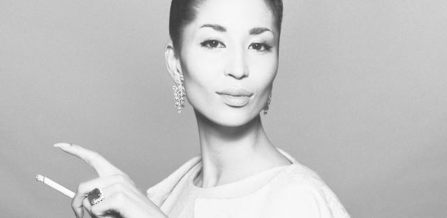 Model China Machado in a dinner dress and jacket by Ben Zuckerman, New York, in November 1958.