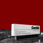 A photo illustration of a comed sign on a red background with a grid texture