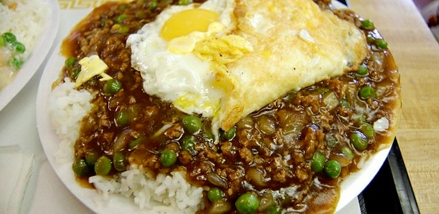 Minced beef with egg over rice at May May Gourmet Food in Chicago's Chinatown