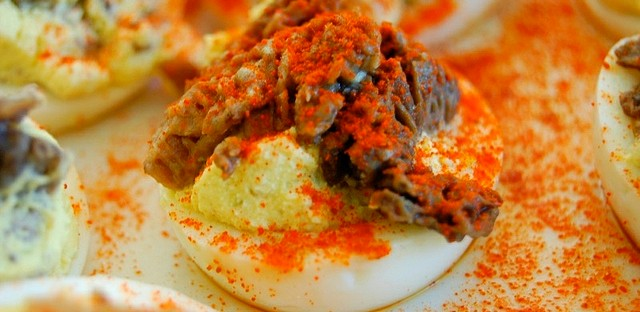 Mushroom deviled eggs at  Illinois Mycological Association Foray potluck