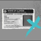 a black and white image of a concealed carry license with a blue x over it