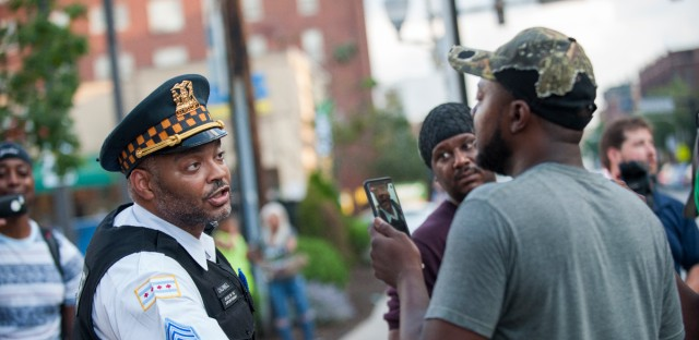 Protesters gathered in the South Shore neighborhood on July 15, 2018, following the death of Harith Augustus, who was fatally shot by Chicago police a day earlier.