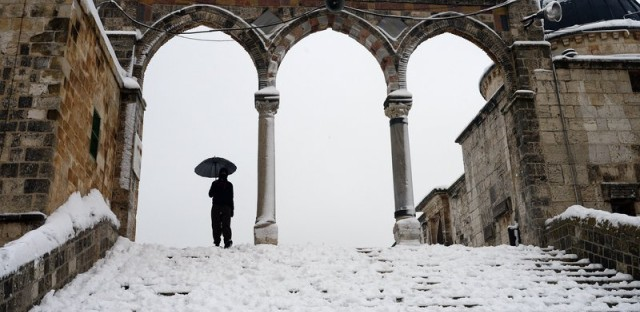 Al Aqsa Mosque in Jerusalem was dusted with snow in February.