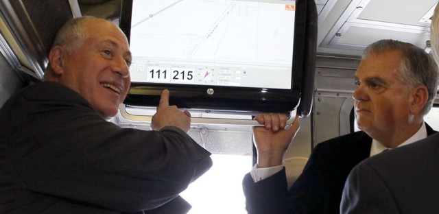 Illinois Gov. Pat Quinn, left, and Transportation Secretary Ray LaHood, on a high speed rail test run in October of 2012.