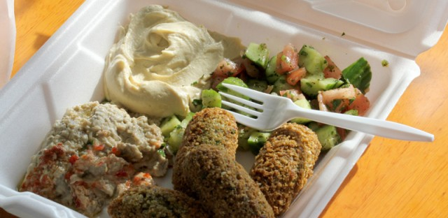 The Grape Vine in Orland Park carries a variety of middle eastern groceries -- pita bread, red lentils, butter ghee, pickled cucumbers -- as well as some pretty tasty falafel!