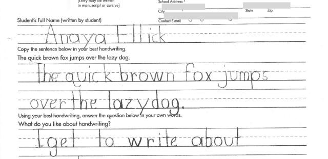 Anaya's entry to the Nicholas Maxim handwriting contest for special needs children.