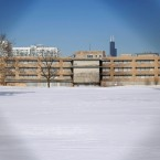 This photo from 2014 shows a view shot through a fence looking north of the area that once housed the former Michael Reese Hospital in the South Side neighborhood of Bronzeville.