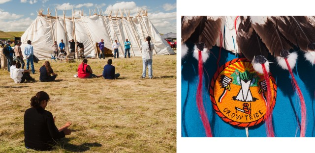 Speakers (left) at the Sioux tribal council lodge mark the first time that the Seven Councils of the Oceti Sakowin have met in more than a century, says Standing Rock Sioux Chairman Dave Archambault II. (Right) A detail of regalia worn by Darrin Old Coyote, chairman of the Crow Nation. The Crow and Sioux nations were once enemies, and the show of support was considered historic.