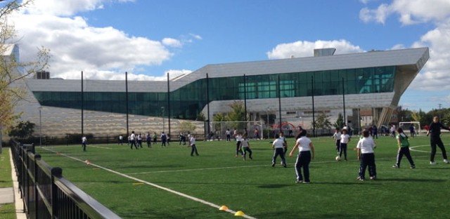 The UNO Soccer Academy Charter Elementary School in Gage Park was designed by architect Juan Moreno, opened in 2011.