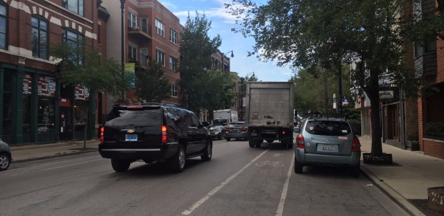 """A photo submitted to Active Transportation Alliance's """"Clear the Way Campaign,"""" which shows a truck parked in a Chicago bike lane."""