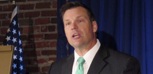 Kansas Secretary of State Kris Kobach at a news conference earlier this month. His letter on behalf of the White House's voting security commission has drawn criticism from some state officials.