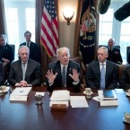 President Donald Trump holds his first official meeting with members of his Cabinet, including (from left) Secretary of the Interior Ryan Zinke, Secretary of State Rex Tillerson, Secretary of Defense James Mattis and Secretary of Commerce Wilbur Ross in March.