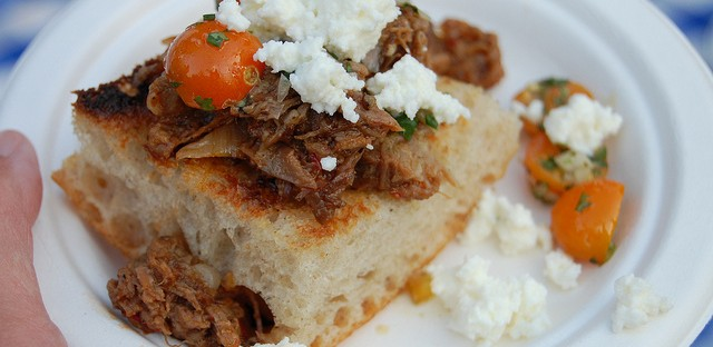 Beef barbacoa with Sungold tomatoes and fresh farmers cheese on housemade ciabatta by avec, Big Star, Blackbird, Publican, and Publican Quality Meats chefs Paul Kahan, Koren Grieveson, Justin Large, David Posey, Brian Huston, Erling Wu-Bower, and Dennis Bernard