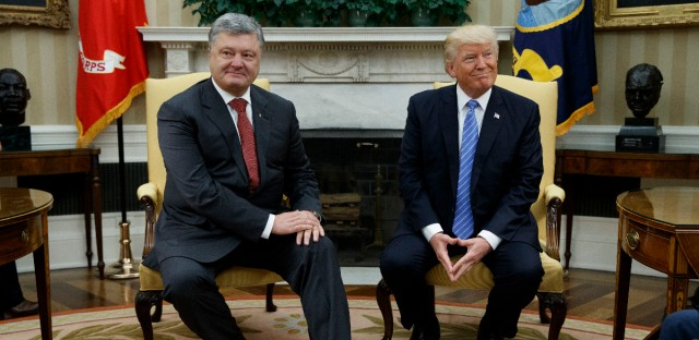 President Donald Trump meets with Ukrainian President Petro Poroshenko in the Oval Office of the White House, Tuesday, June 20, 2017, in Washington.