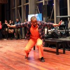 "Vershawn Sanders-Ward, artistic director of Red Clay Dance, performs an excerpt of the piece ""Say Her Name,"" which looks at women who are incarcerated. Her organization runs a program called ""Making An Artivist"" at the Cook County Juvenile Detention Center and is a part of the Envisioning Justice grant program."
