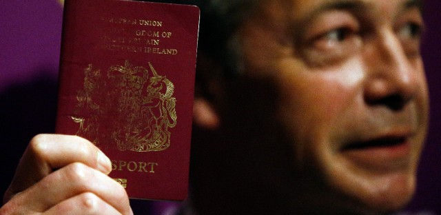 UK Independence Party (UKIP) party leader Nigel Farage shows his passport as he addresses media and party members during a speech focusing on the upcoming EU referendum in London, Friday, June 3, 2016. Farage is a leading campaigner advocating Britain to cut its ties with the rest of Europe, known by the name, 'Brexit'.