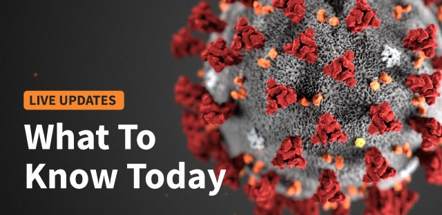 Graphic of the coronavirus with the worlds 'what to know today' overlaid