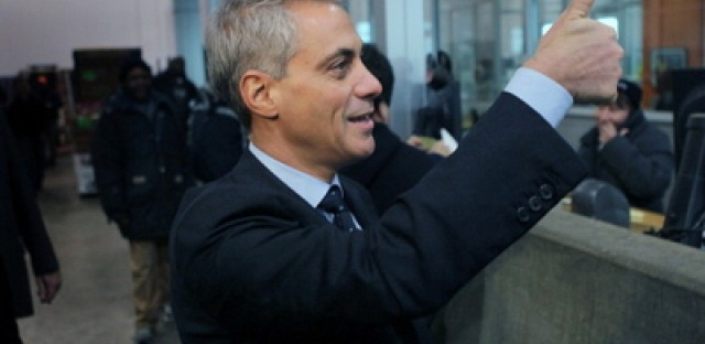Rahm Emanuel at a produce distribution warehouse where he received the endorsement of Teamsters Joint Council 25.