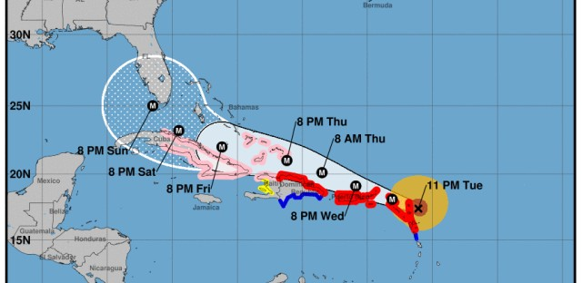 National Hurricane Center 11 p.m. AST projection of Irma's path.
