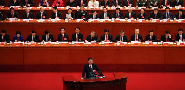 Chinese President Xi Jinping delivers a speech at the opening ceremony of the 19th Party Congress at the Great Hall of the People in Beijing, Wednesday, Oct. 18, 2017.