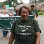 "New Chicago State University President Zaldwaynaka ""Z"" Scott leads the CSU ""Welcome Back To School Parade"" as it moves along Martin Luther King, Jr. Drive, August 20, 2018. CSU is hoping to make a fresh start under its new leader."