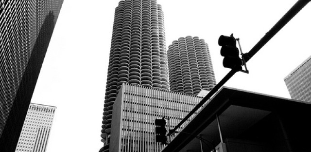 It took a few decades before Marina City had neighboring buildings. Here a view of modern day Marina City in context.