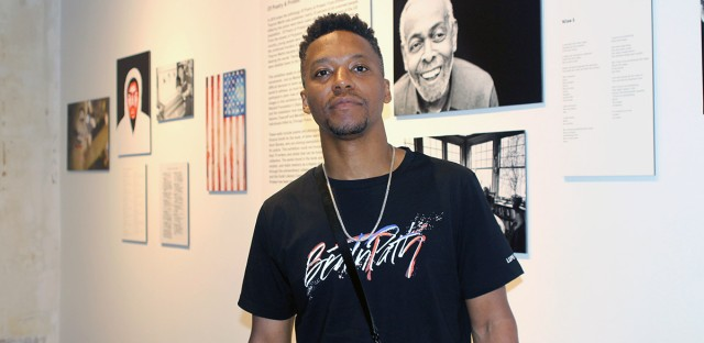 "Chicago rapper Lupe Fiasco stands in the Stony Island Arts Bank before screening his new docu-series, ""Beat N' Path,"" on Tuesday."