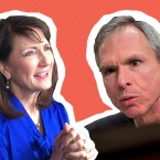 U.S. Rep. Dan Lipinski (right) will face Marie Newman for the 3rd Congressional District seat in the March 20 Democratic primary. (Photos: AP / Illustration: Arionne Nettles/WBEZ)