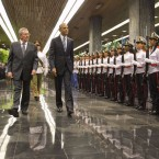 President Obama walks with Cuban President Raúl Castro during a welcoming ceremony at the Palace of the Revolution in Havana on Monday.