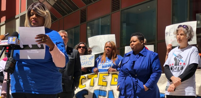 Parents and advocates speak out in front of the Thompson Center on Monday, May 13, 2019 to demand that Illinois Senate President John Cullerton call a vote on a bill creating an elected school board for Chicago.