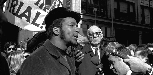 Fred Hampton, chairman of the Illinois Black Panther party, at a rally outside the U.S. Courthouse October 29, 1969.