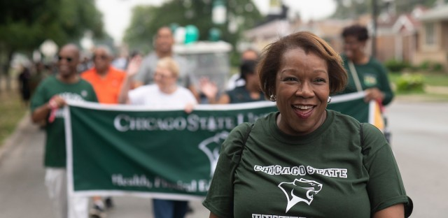 "Chicago State University President Zaldwaynaka ""Z"" Scott leads a school parade on Aug. 20, 2018. Scott will join presidents of other predominantly black colleges to receive the university's first check from the newly formed AKA-HBCU Endowment Fund."