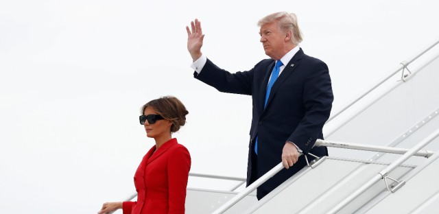 U.S. President Donald Trump and first lady Melania arrive on Air Force One at Orly Airport in Paris, Thursday, July 13, 2017. The president and first lady will attend the Bastille Day parade on the Champs Elysees avenue in Paris Friday, July 14.