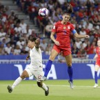 Alex Morgan (right) scored the second American goal of the semifinal.