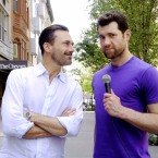 Billy Eichner (right) chats with actor Jon Hamm during a taping of Billy on the Street. Eichner also stars in the Hulu series, Difficult People.