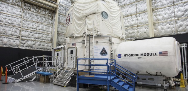 Mock astronauts spend time in this three-story structure at the Johnson Space Center in Houston that simulates the confinement and tight quarters that will come with human missions to Mars.